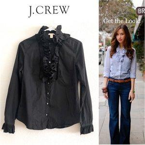 J. Crew Black Victorian Ruffle Cotton Shirt
